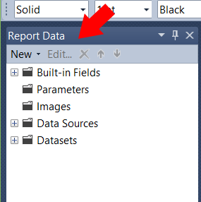 Help find your Report Data tab in SSRS